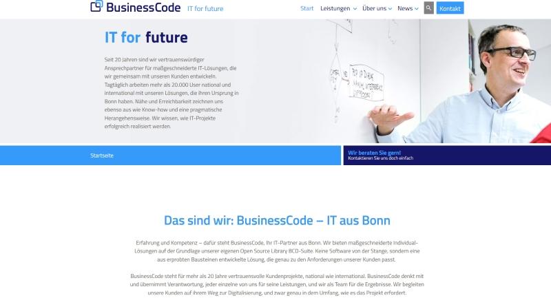 BusinessCode startet Marktoffensive mit neuer Homepage