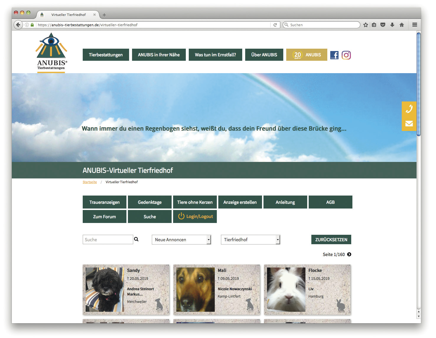 Der virtuelle Tierfriedhof von ANUBIS-Tierbestattungen – eine Erfolgsstory
