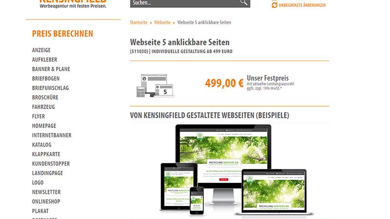 Webseite 5 anklickbare Seiten – schon ab 499 Euro