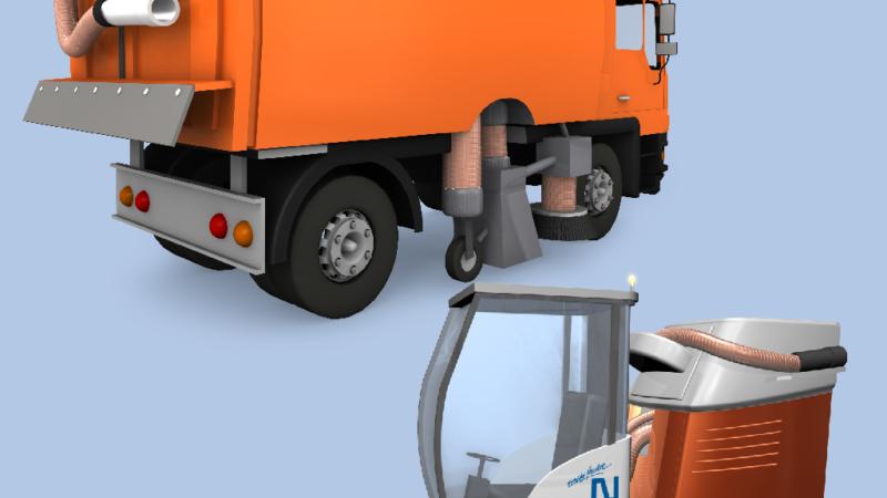 Im Einsatz an Kehr- und Reinigungsmaschinen