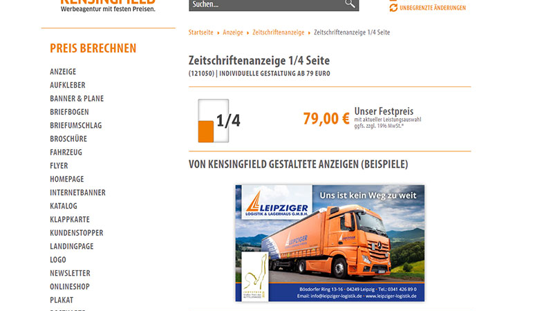 Zeitschriftenanzeige 1/4 Seite – schon ab 79 Euro