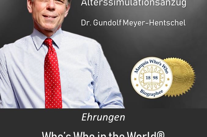 Weltalzheimertag mit Dr. G. Meyer-Hentschel und Altersanzug AgeMan