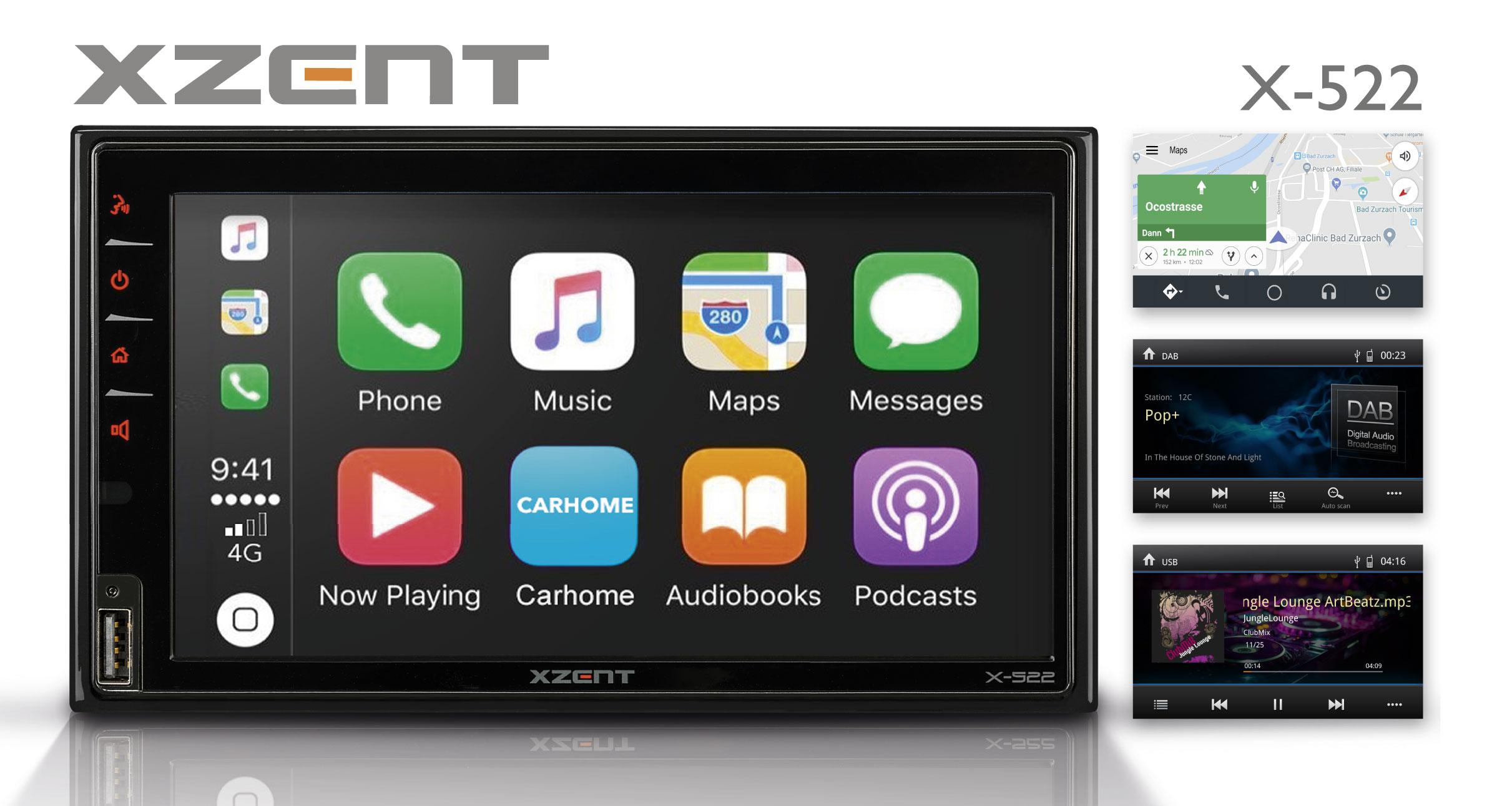 Integriert iOS und Android Handys – XZENTs Infotainer X-522