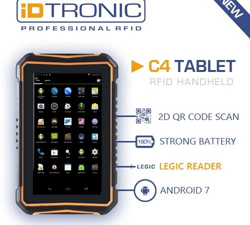 iDTRONICs robuster RFID Handheld Computer C4 Tablet LEGIC
