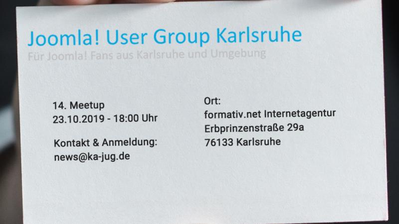 Einladung: Joomla User Group Karlsruhe bei der formativ.net Internetagentur