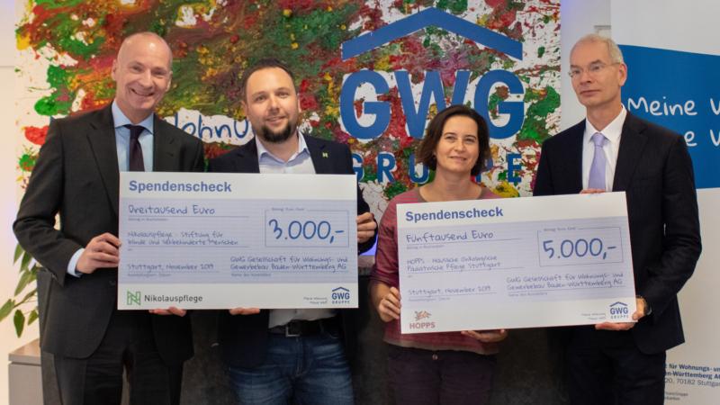 GWG-Gruppe spendet 10.000 Euro an soziale Einrichtungen in Stuttgart und Region
