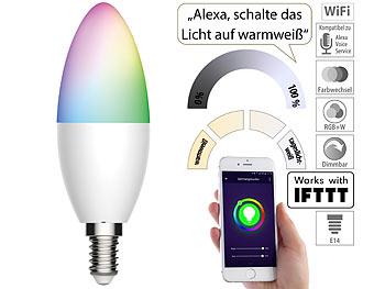 Luminea Home Control WLAN-LED-Lampe LAV-155.rgbw, E14
