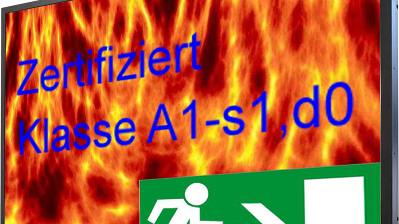 Industrie-TFT Großanzeigen mit Brandschutz Klasse A1-s1, d0