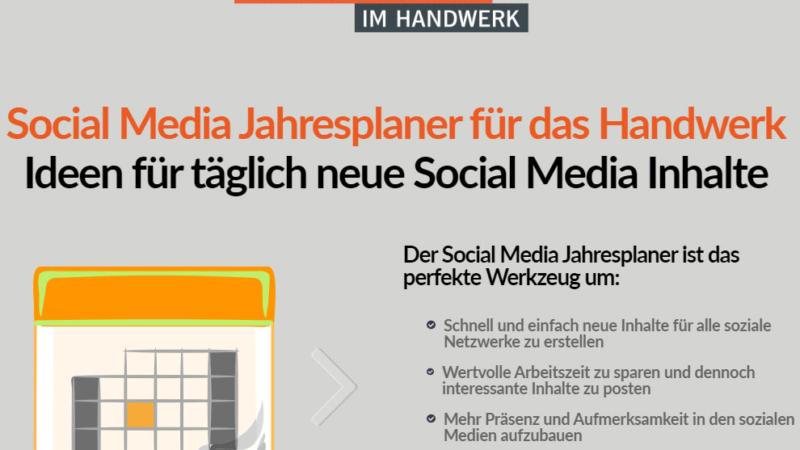 Social Media Jahresplaner für das Handwerk