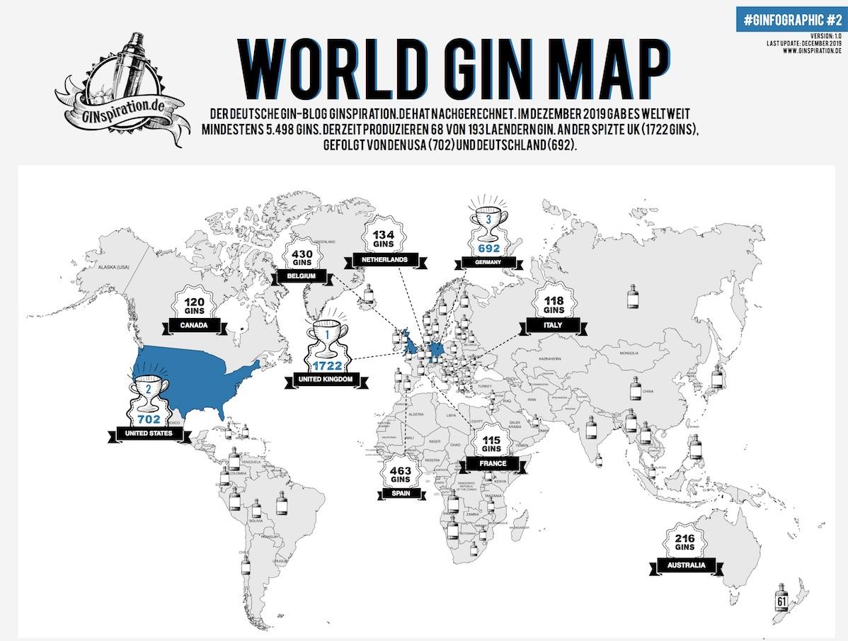 Weltweit über 5.400 unterschiedliche Gins entdeckt.