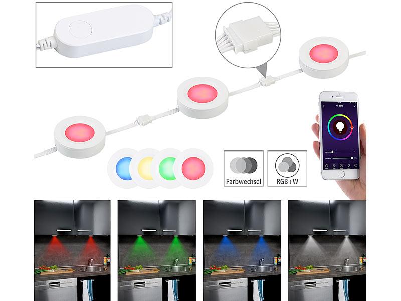 Lunartec 3er-Set WLAN-Unterbau-LEDs ULA-100, RGB+W