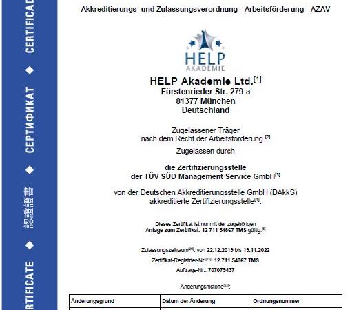 Erfahrungen mit HELP Akademie: erneut AZAV-TÜV-Zertifikat