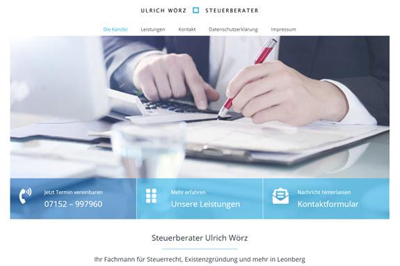Neue Website von Steuerberater Ulrich Wörz