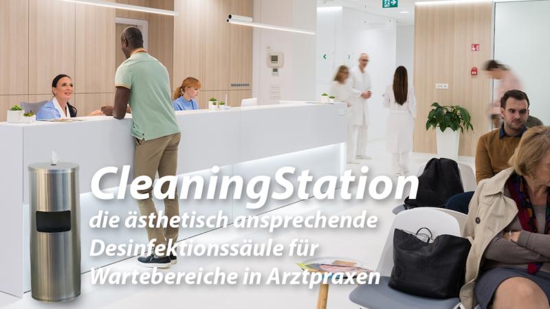 """Die Desinfektionssäule """"CleaningStation"""" – ästhetisch ansprechende Desinfektionslösung für Wartebereich in Arztpraxis"""