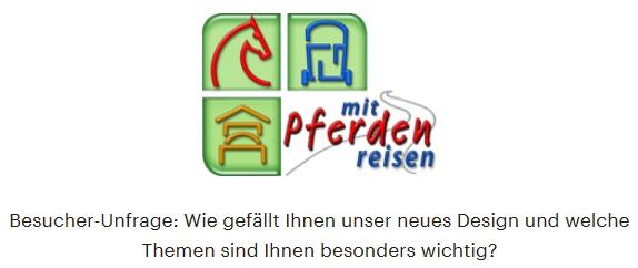 Umfrage auf www.mit-Pferden-reisen.de: Wie gefällt Ihnen www.mit-Pferden-reisen im neuen Design?
