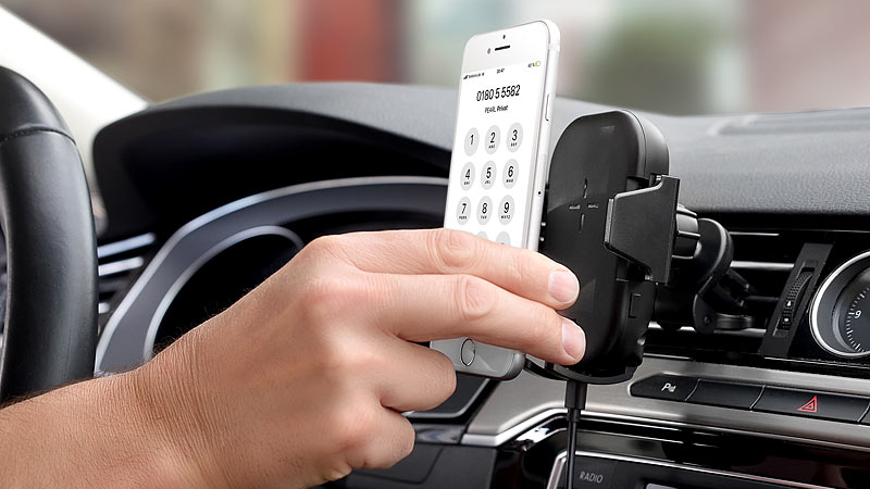 Callstel Qi-Smartphone-Ladehalter für Kfz-Lüftungsgitter