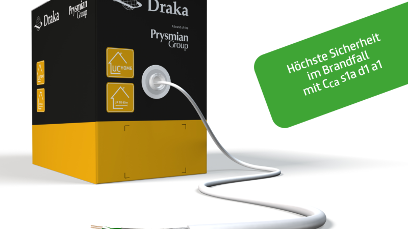 Draka UC HOME Cat.7: Improved fire protection for safe smart living