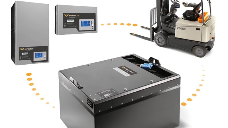 Laden statt wechseln: Crown präsentiert seine neue V-Force® Lithium-Ionen-Technologie