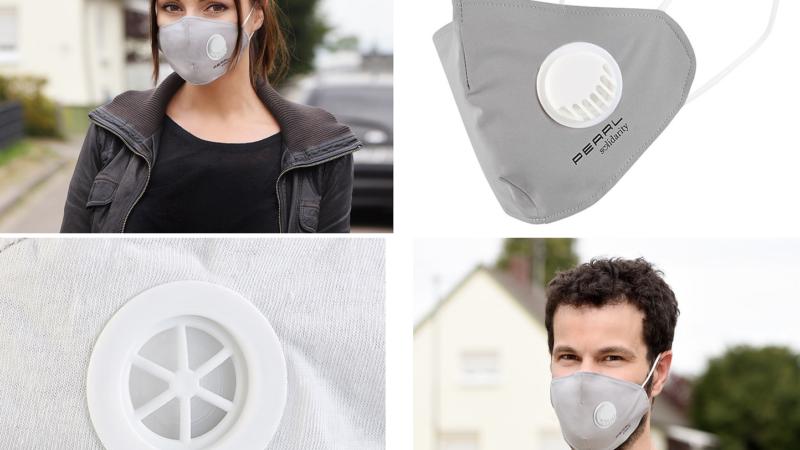 PEARL Mund-Nasen-Stoffmaske, Ventil, Nanofilter (98,9 %)