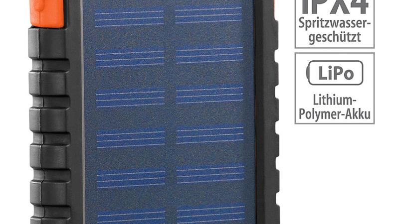 PEARL Solar-Powerbank PB-30.s mit Taschenlampe