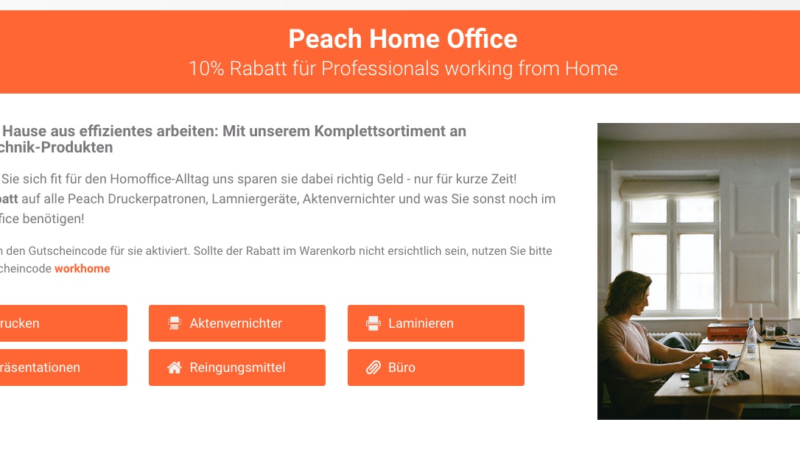 Peach: Große Rabattaktion für Homeoffice-Arbeiter