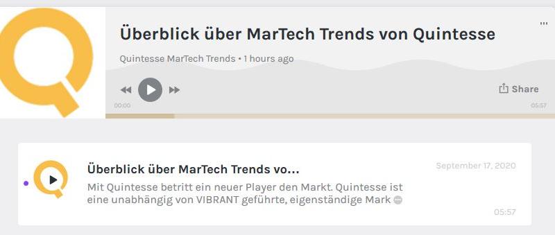 Quintesse launcht neuen Podcast zum Thema MarTech und erklärt die wichtigsten Trends einfach und transparent.