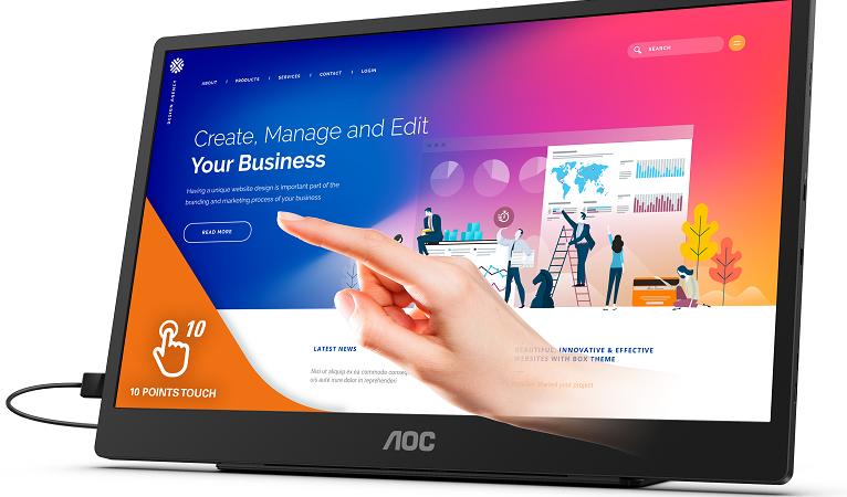 AOC präsentiert tragbares 15,6″-Display mit 10-Punkt-Touchfunktionalität: 16T2