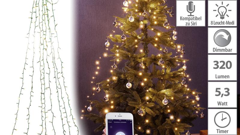 Lunartec WLAN-Tannenbaum-Überwurf-Lichterkette mit App