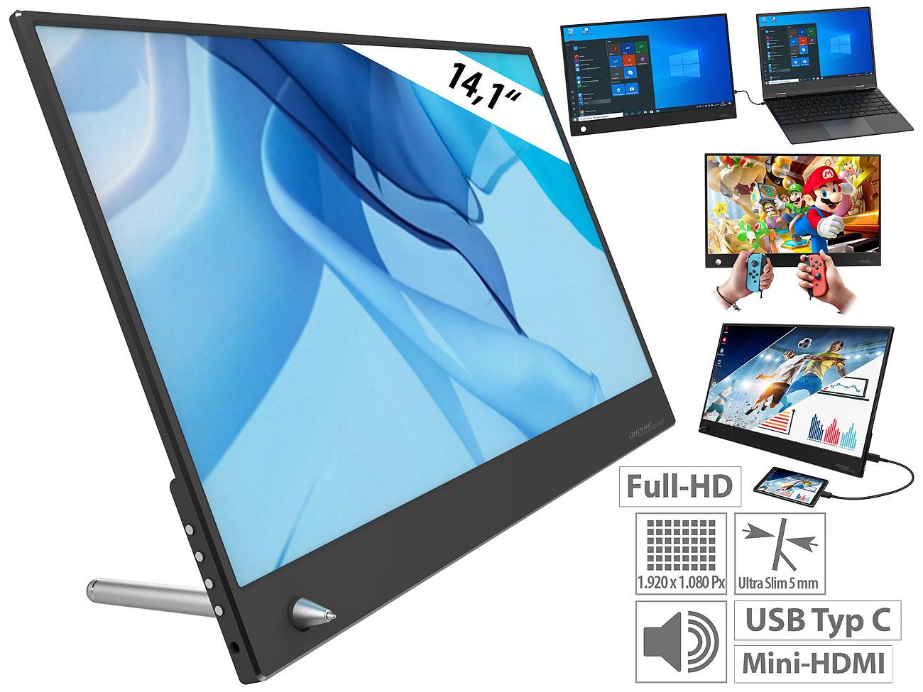 auvisio Ultradünner Full-HD-Monitor EZM-100, 14,1″
