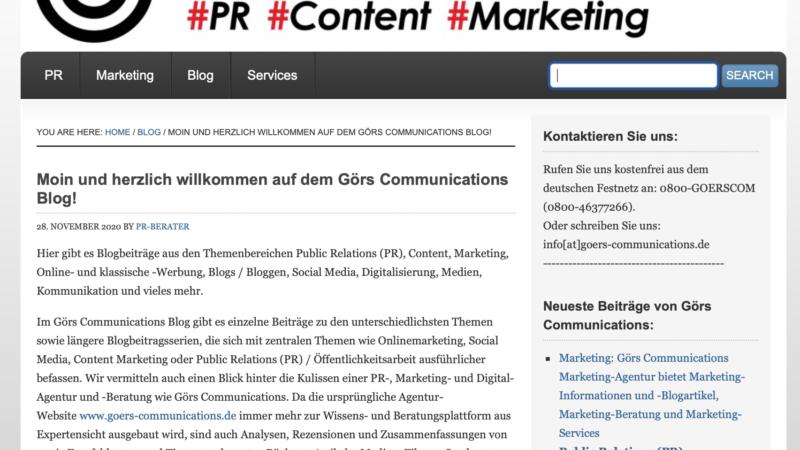Besuchen Sie den Görs Communications Blog zu PR-, Content-, Marketing- und Digitalisierungsthemen