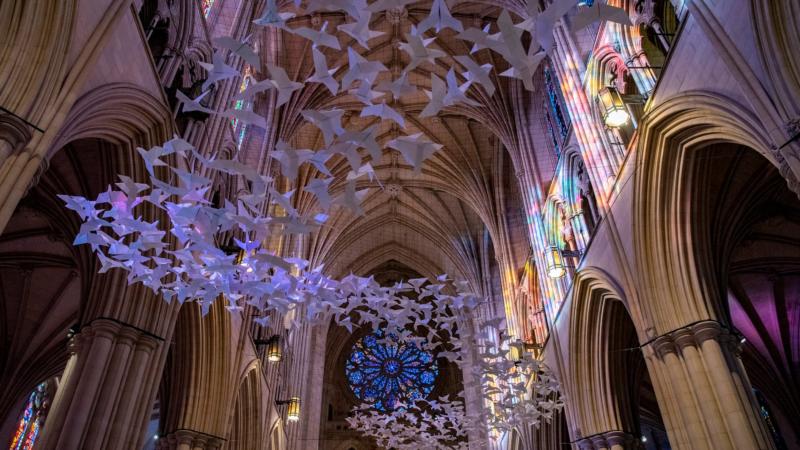Symbole der Hoffnung und Zuversicht: Über 2.000 Papiertauben schweben in der National Cathedral in Washington, DC