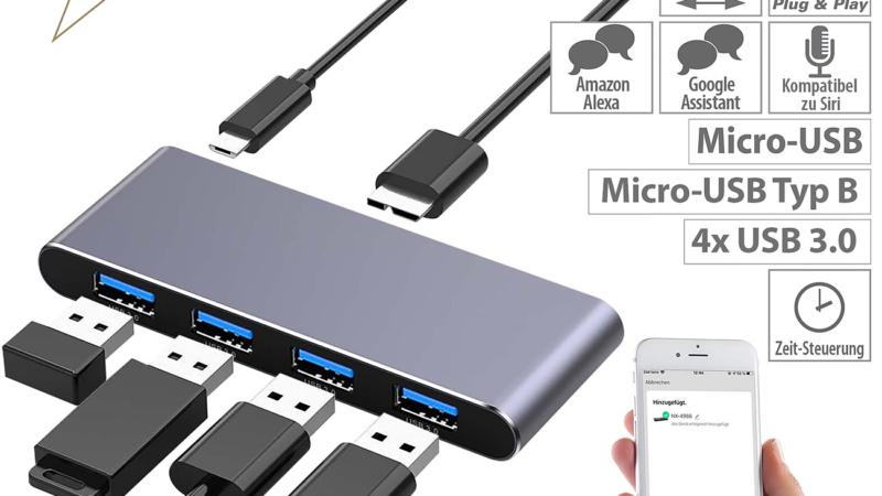 Xystec WLAN-USB-3.0-Hub mit 4 einzeln schaltbaren Ports