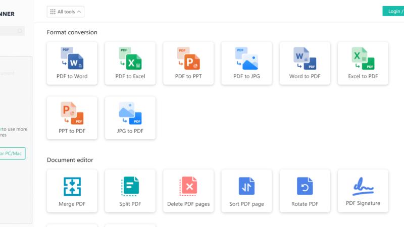 CamScanner kostenlosen Online-PDF-Konverter, mit dem Benutzer PDF in Word, PDF in Excel und mehr konvertieren können