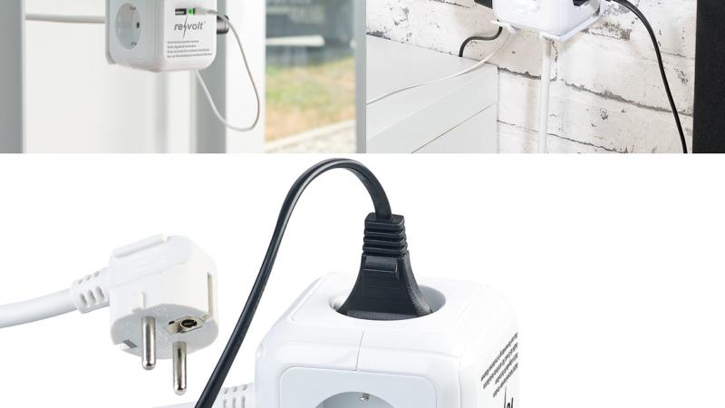 revolt 4-fach-Steckdosen-Würfel mit 2 USB-Ladeports