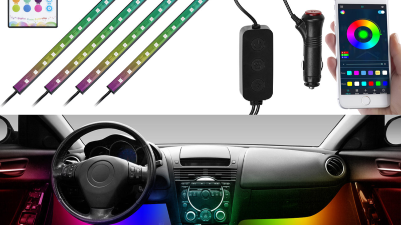 Lescars 4er-Set Kfz-LED-RGB-Streifen mit Fernbedienung