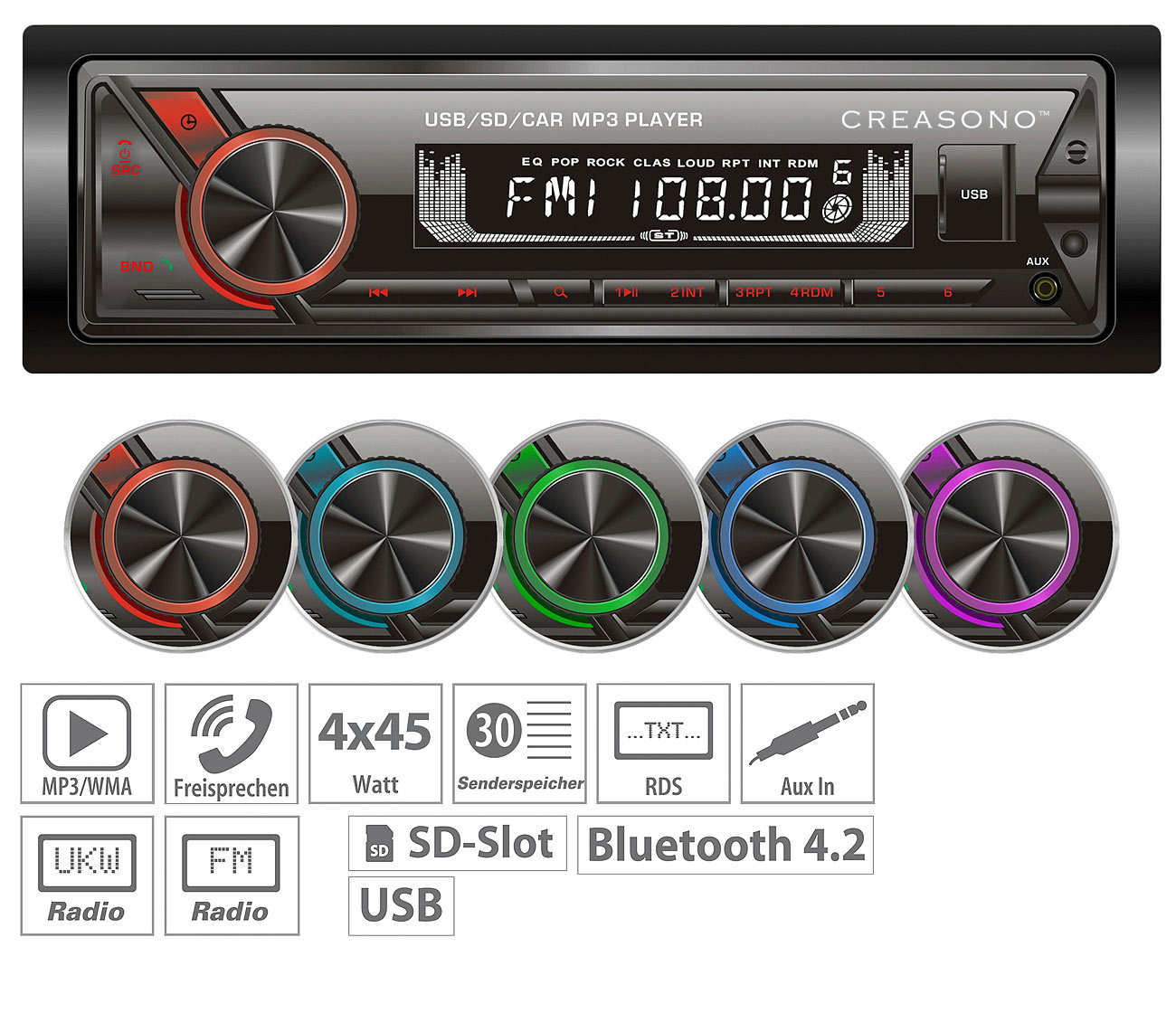 Creasono MP3-Autoradio CAS-1600.bt