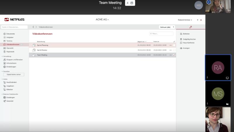 netfiles Datenraum jetzt neu mit Videokonferenz-Funktion