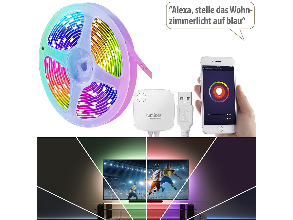 Luminea Home Control USB-RGB-LED-Streifen WRL-30