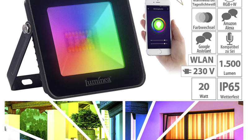 Luminea Home Control WLAN-RGB-CCT-Fluter LED-150