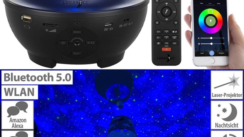 Lunartec Laser-Sternenlicht-Projektor mit Lautsprecher