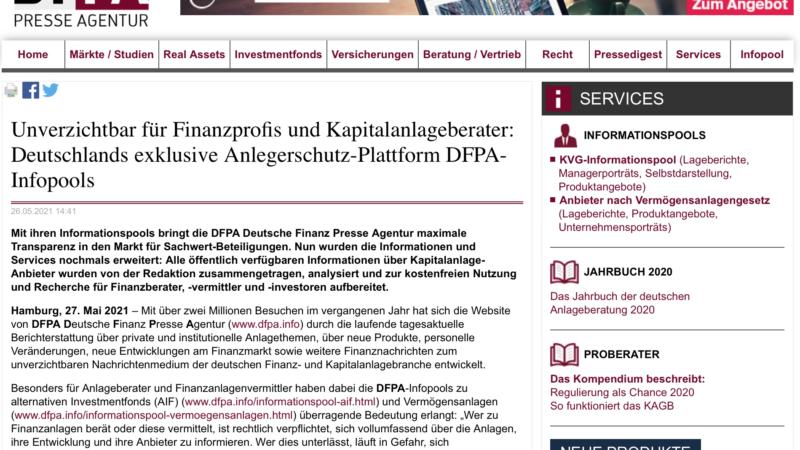 Unverzichtbar für Finanzprofis und Kapitalanlageberater: Deutschlands exklusive Anlegerschutz-Plattform DFPA-Infopools