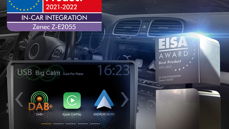 """EISA Award 2021-2022 for ZENEC""""s VW-Infotainer Z-E2055"""