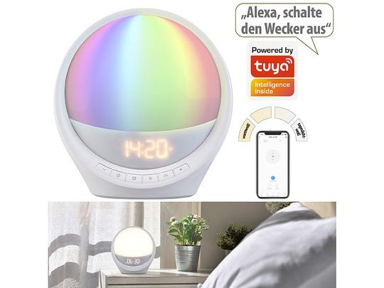 auvisio WLAN-Lichtwecker, Sonnenaufgang, CCT-LEDs und 7 Farben